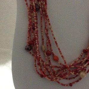 "Multi-strand 19"" Red & Orange Beaded Necklace"
